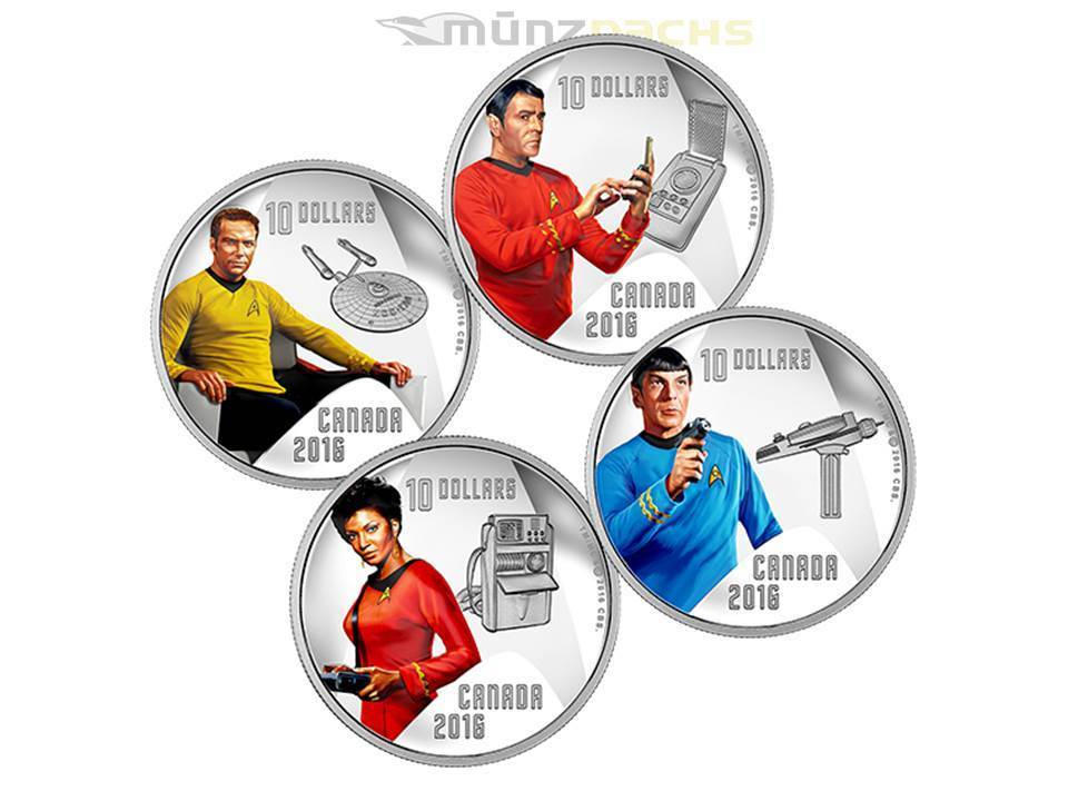 4 X 10 Dollar 50 Jahre Star Trek Uss Enterprise Kanada 4 X 12
