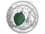 20 $ Dollar Brilliant Birch Leaves Birke Kanada Drusy Stone Inlay 1 oz Silber PP 2017