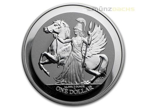 1 $ Dollar Pegasus & Athene British Virgin Islands 1 oz Silber 2017 Reverse Proof **