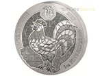 50 Francs Lunar Ounce Year of the Rooster Hahn Ruanda 1 oz Silber BU 2017