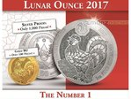 10 x 50 Francs Lunar Ounce Year of the Rooster Hahn Ruanda 10 x 1 oz Silber BU 2017