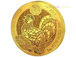 100 Francs Lunar Ounce Year of the Rooster Hahn Ruanda 1 oz Gold BU 2017