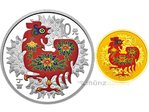 10 + 50 Yuan Lunar Rooster Hahn Set farbig coloured China 1/10 oz Gold + 1 oz Silber PP 2017