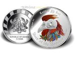 5 Cedis Lunar Tattoo Art Hahn Year of the Rooster High Relief Ghana 1 oz Silber PP 2017