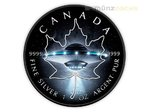 5 $ Dollar Black Maple Leaf UFO Glow in the Dark Kanada 1 oz Silber 2017