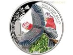 5 $ Dollar Pink & Grey Galah Rosakakdu Papagei 3D Cook Islands Silber PP 2017 **