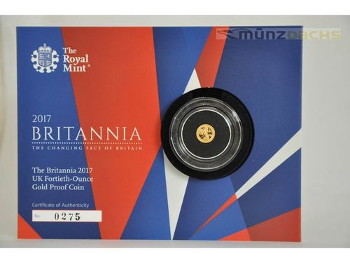 50 Pence Britannia Großbritannien United Kingdom 1/40 oz Gold PP Proof 2017