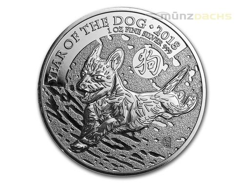 2 Pounds Pfund Lunar Year of the Dog Hund Großbritannien UK 1 oz Silber 2018 **