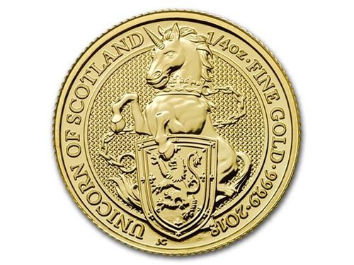 25 Pfund Pounds The Queen's Beasts The Unicorn - Einhorn Großbritannien 1/4 oz Gold 2018