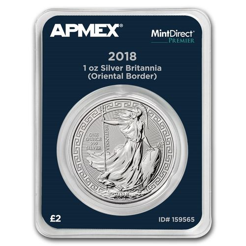 2 Pounds Oriental Border Britannia Großbritannien UK Apmex MintDirect® Premier 1 oz Silber 2018 **