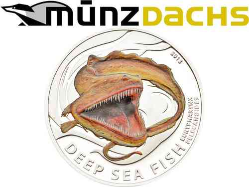 2 $ Dollar Deep Sea Fish Eurypharynx Pelecanoides Pitcairn Islands 1/2 oz Silber PP 2013 **