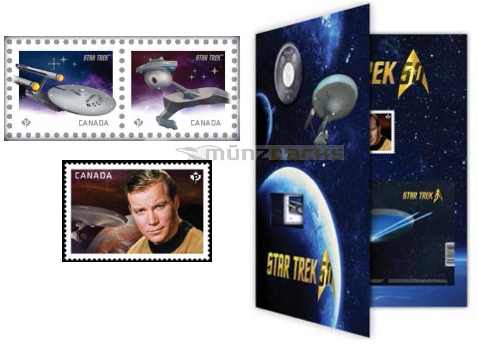 25 Cent 50 Jahre Star Trek Coin And Stamp Set Kanada 2016 Münzdachs