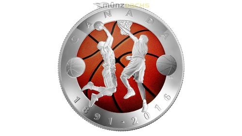 25 $ Dollar 125th Anniversary of the Invention of Basketball Convexe Shaped Kanada Silber PP 2016