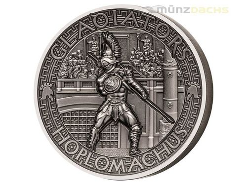5 $ Dollar The Gladiators Hoplomachus Ultra High Relief Solomon Islands 2 oz Silber 2017