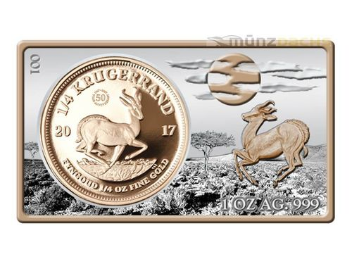 50th Anniversary Krügerrand The Gold Krugerrand Bar Set Südafrika 1 oz Silber + 1/4 oz Gold PP 2017