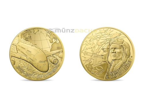 50 Euro Aviation & History Airbus A380 Frankreich 1/4 oz Gold PP 2017