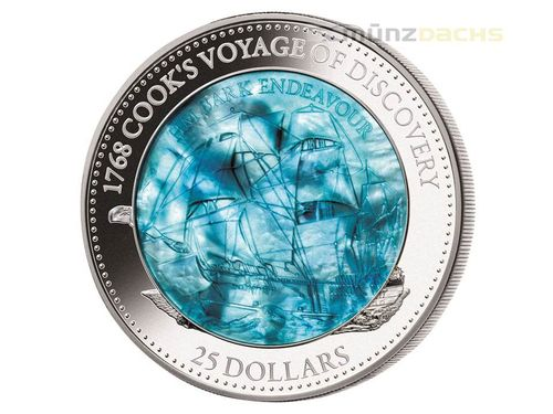 25 $ Dollar James Cook - Endeavor Mother of Pearl Solomon Islands 5 oz Silber 2018 PP