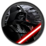 2 $ Dollar Star Wars - Darth Vader Black Coloured Edition Niue Island 1 oz Silber + Ruthenium 2017
