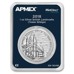 2 Pounds Landmarks Britain Tower Bridge Großbritannien Apmex MintDirect® Premier 1 oz Silber 2018 **