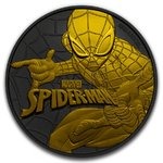 2 $ Dollar Spiderman Black Gold Edition Tuvalu 1 oz Silber + Ruthenium 2017