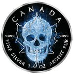 5 $ Dollar Black Maple Leaf Ice Skull Kanada 1 oz Silber + Ruthenium 2017