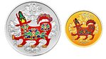 10 + 50 Yuan Lunar Dog Hund Set farbig coloured China 3 Gramm Gold + 30 Gramm Silber PP 2018