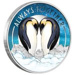 Always Together Forever Love Penguin Pinguin Tuvalu 1/2 oz Silber 2018 PP **