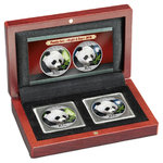 2 x 10 Yuan Night & Day Panda Set farbig Farbe China 2 x 30 Gramm Silber 2018 **