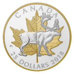 25 $ Dollar Timeless Icons - Maple Leaf & Caribou - Karibu Piedfort Kanada 1 oz Silber PP 2018 **