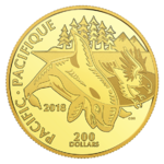 200 $ Dollar Canadian Coastal Symbols - The Pacific - Der Pazifik Kanada 1 oz Gold PP 2018