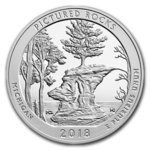 America the Beautiful ATB Pictured Rocks National Lakeshore Michigan USA 5 oz Unzen Silber 2018 **