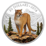 20 $ Dollar Majestic Wildlife Animals - Courageous Cougar Puma Kanada 1 oz Silber PP 2018 **
