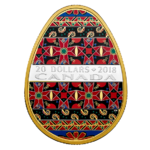20 $ Dollar Traditional Ukrainian Egg Golden Spring Pysanka Kanada 1 oz Silber PP 2018 **