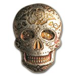 2 oz Silber Skull Totenkopf - Day of the Dead - Dia de los Muertos - Rose