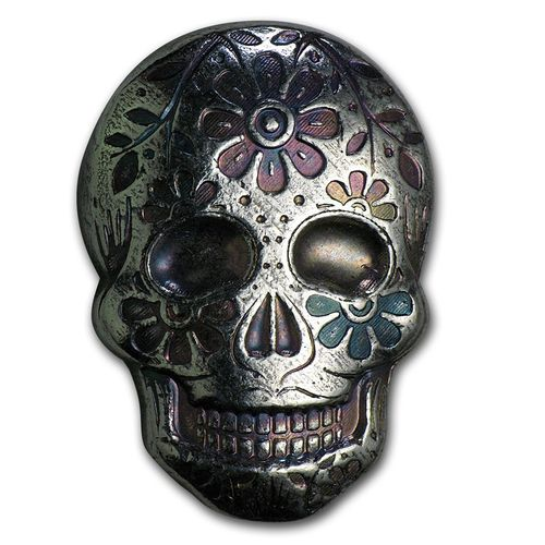 2 oz Silber Skull Totenkopf - Day of the Dead - Dia de los Muertos - Marigold