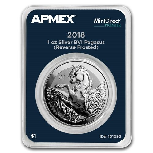 1 $ Dollar Pegasus Apmex MintDirect® Premier British Virgin Islands 1 oz Silber 2018 **