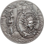 10 $ Dollar Mythology - Shield of Athena - Aegis Ultra High Relief Cook Islands 2 oz Silber 2018 **