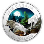 20 $ Dollar Geometry in Art - Geometric Fauna Grey Wolves Wolf Kanada 1 oz Silber PP 2018 **