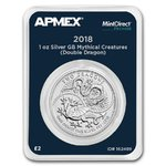 2 Pounds Two Dragons - Double Dragon Großbritannien UK Apmex MintDirect® Premier 1 oz Silber 2018 **