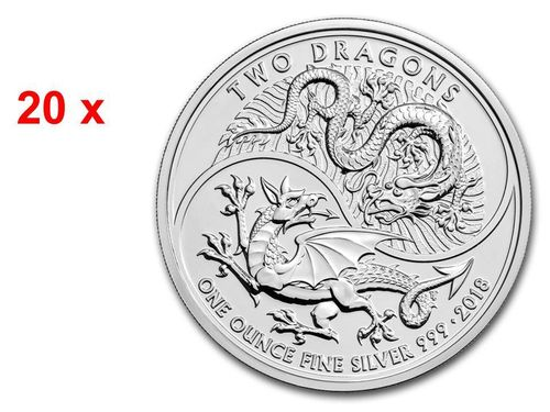 20 x 2 Pounds Pfund Two Dragons Double Dragon Großbritannien UK 20 x 1 oz Silber 2018 **