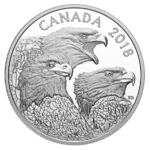 15 $ Dollar Magnificent Bald Eagles - Weisskopfseeadler Kanada 1 oz Silber PP 2018 **