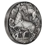 2 $ Dollar Chinese Mythical Creatures Qi Lin Unicorn Einhorn High Relief Tuvalu 2 oz Silber 2018 **