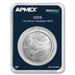 5 $ Dollar Predator Series Wolf Kanada Apmex MintDirect® Premier Single 1 oz Silber 2018 **