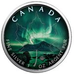 5 $ Dollar Maple Leaf Northern Lights Nordlichter Northwest Territories 1 oz Silber Kanada 2018 **