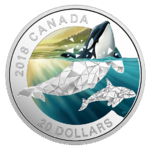 20 $ Dollar Geometry in Art - Geometric Fauna Orca - Killerwal Kanada 1 oz Silber PP 2018 **
