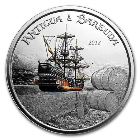 2 $ Dollar EC8 - Eastern Caribbean 8 - Rum Runner Antigua & Barbuda 1 oz Silber PP 2018 **