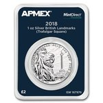 2 Pounds Pfund Trafalger Square Großbritannien UK Apmex MintDirect® Premier 1 oz Silber 2018 **