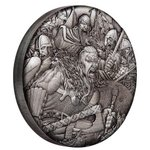 2 $ Dollar Warfare - Vikings - Wikinger - High Relief Tuvalu 2 oz Silber 2018 **
