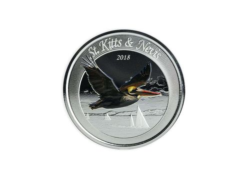 2 $ Dollar EC8 - Eastern Caribbean 8 - Brown Pelican St. Kitts & Nevis 1 oz Silber PP 2018 **