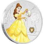 2 $ Dollar Disney Princess Gemstone Edelstein Belle Beauty & Beast Niue Island 1 oz Silber 2018 **